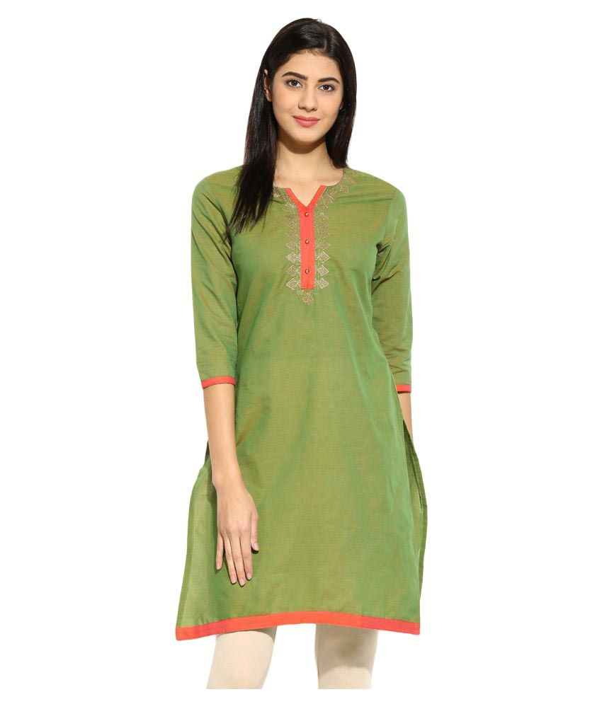 Mytri Green Cotton Straight Kurti