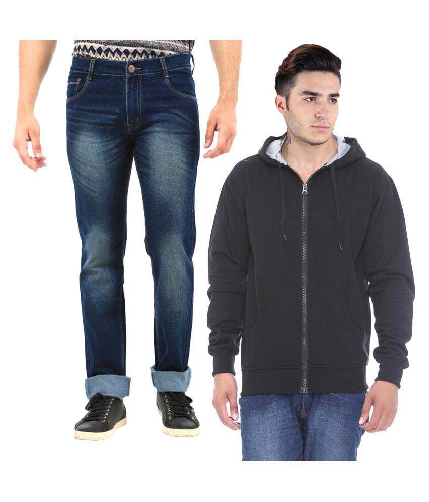 Van Galis Blue Regular Fit Solid Jeans with Sweatshirt