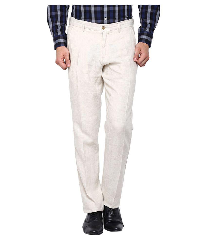 Arrow Sports Off White Slim Flat Trouser