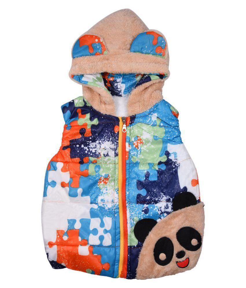 LoL or Land of Littles Sleeveless Multicolor Hooded Jacket For Girls
