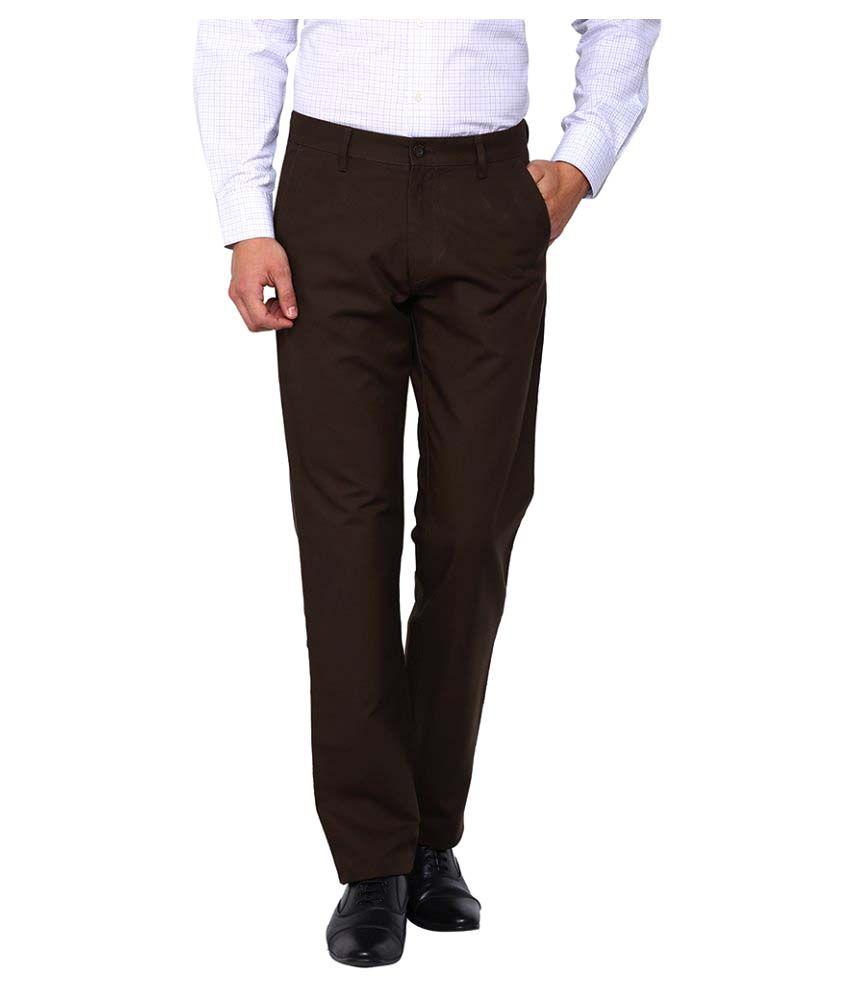Arrow Sports Brown Regular Flat Trouser