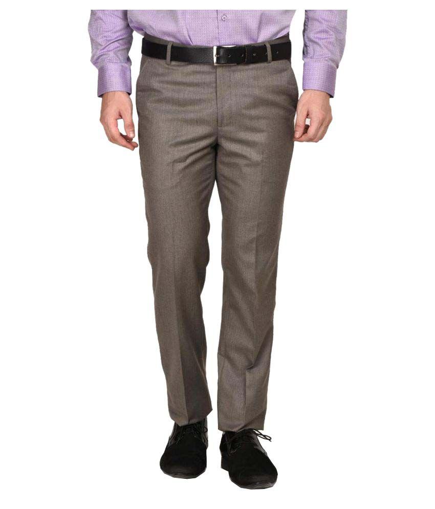 La Mode Brown Regular Flat Trouser