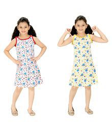 Red Rose Multicolour Cotton Nighty - Pack of 2