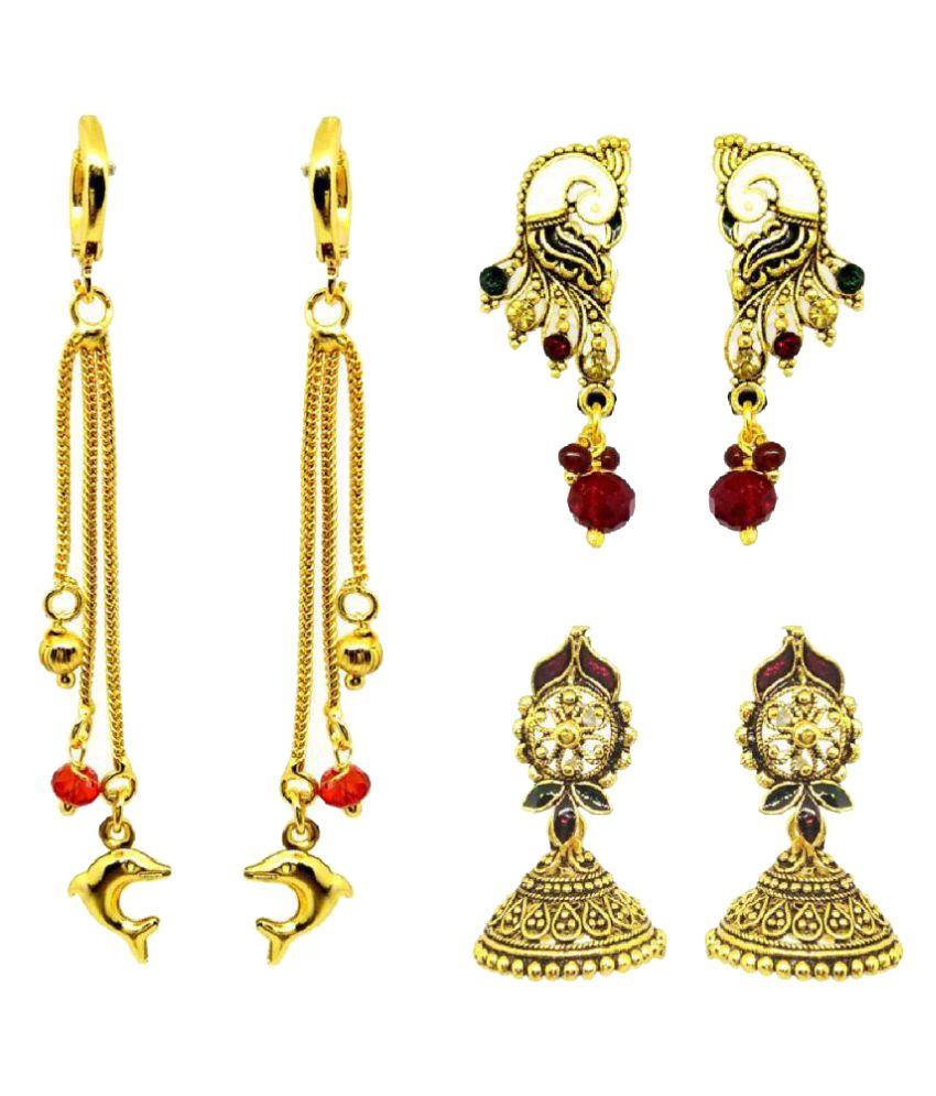GoldNera Golden Earrings Pack Of 3