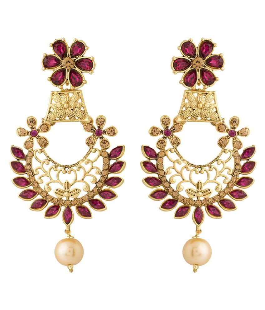 Voylla Handsome Pink Stones Drop Earrings