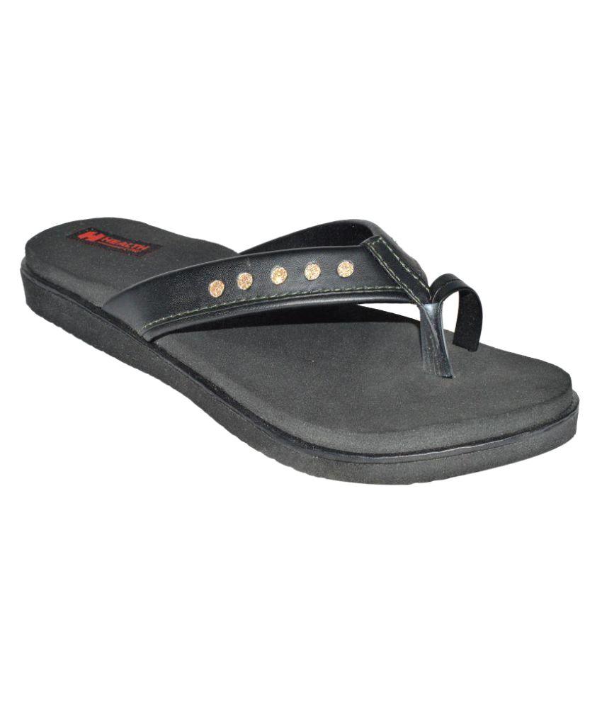 Health Line Black Slippers