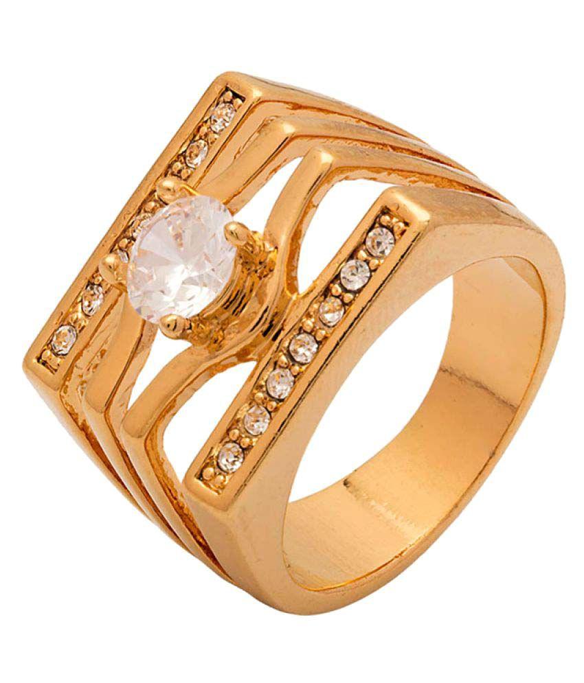 Voylla Gold CZ Studded Men's Ring