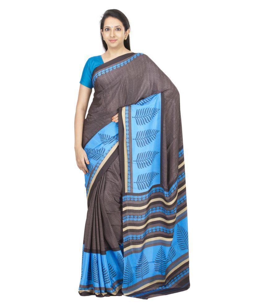 The Chennai Silks Brown Crepe Saree