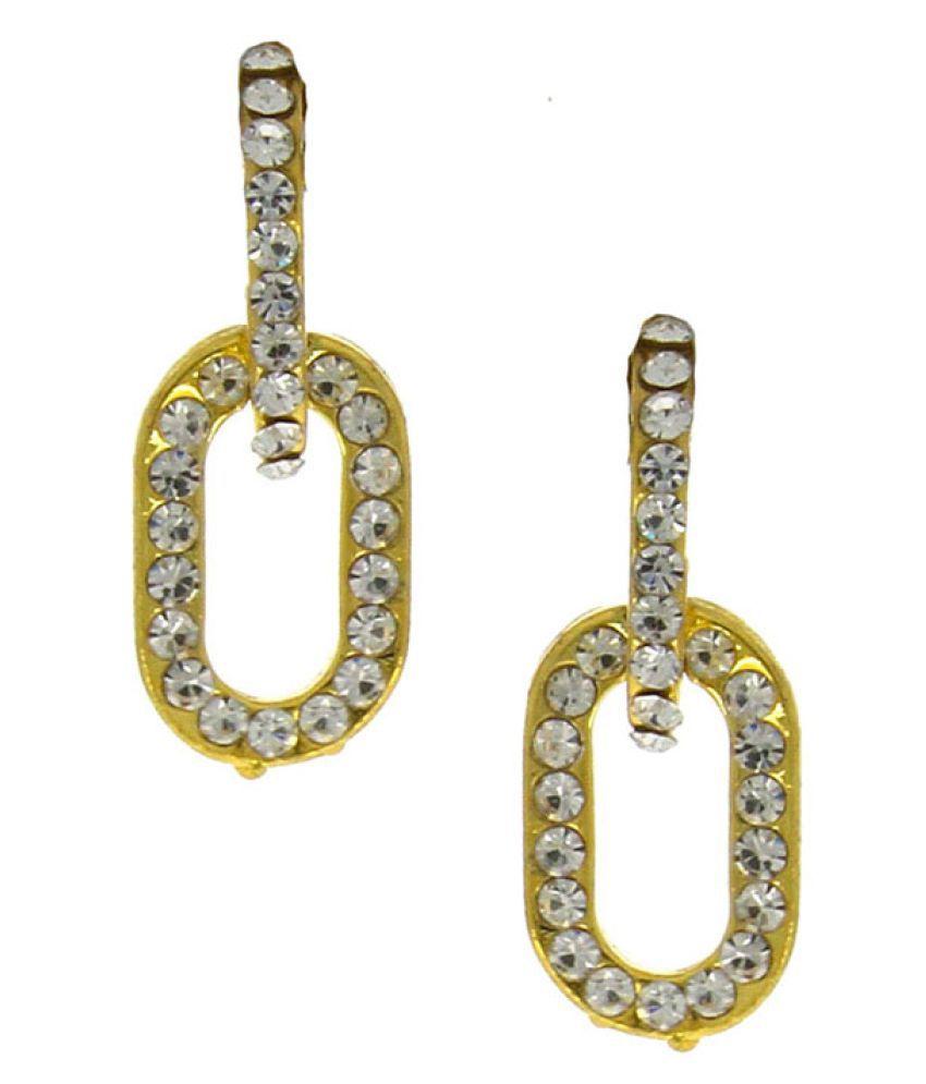 Anuradha Art Golden Finish Very Classy Party Wear Designer Korean Top Earrings For Women