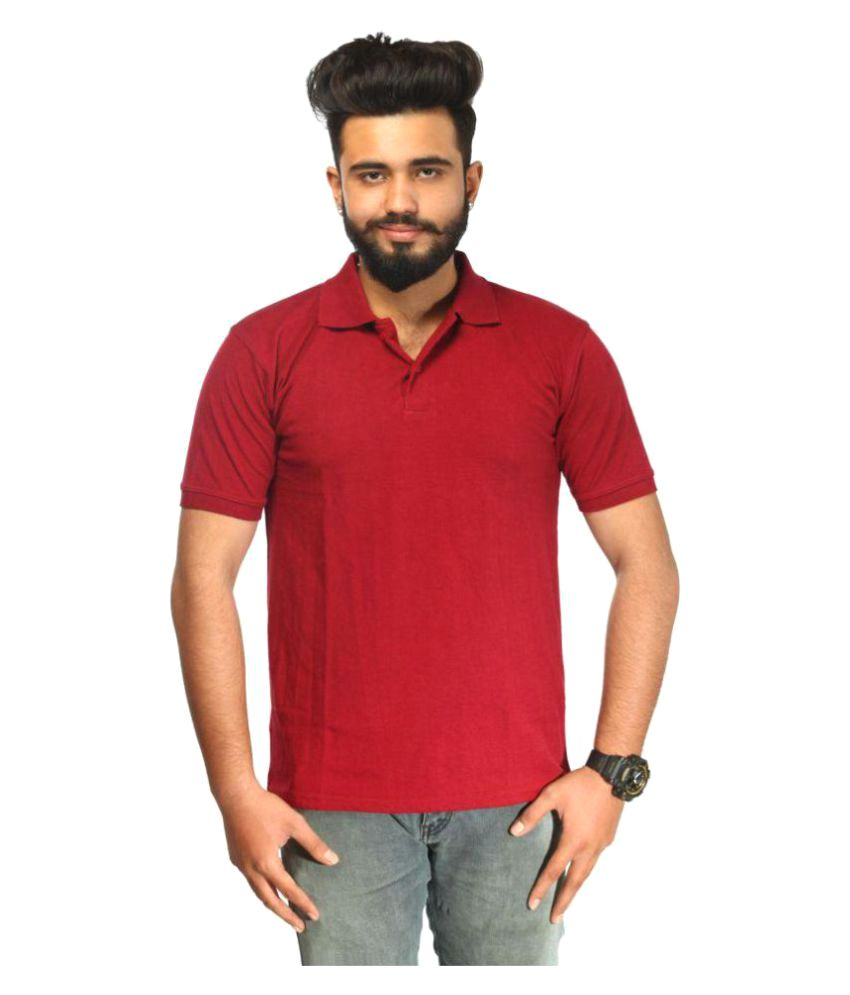 Doodoo Maroon Polyester Lycra Polo T-Shirt Single Pack