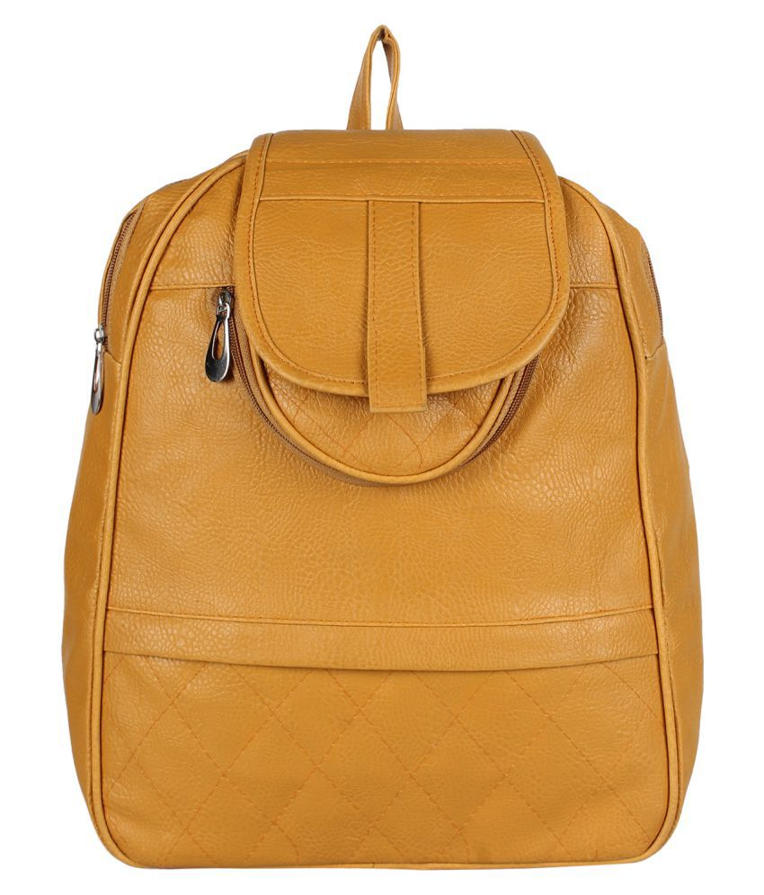 Ayeshu Yellow Faux Leather Backpack