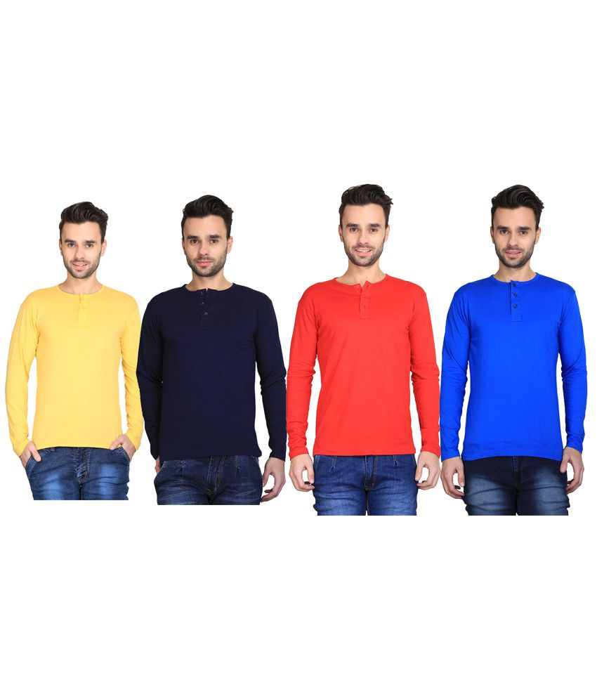 Van Galis Multi Henley T-Shirt Pack of 4