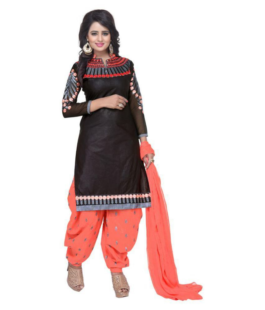 Alina Creation Black Cotton Straight Stitched Suit