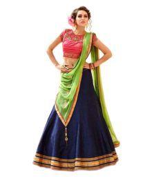Poshak Mart Blue Bhagalpuri Silk A-line Semi Stitched Lehenga