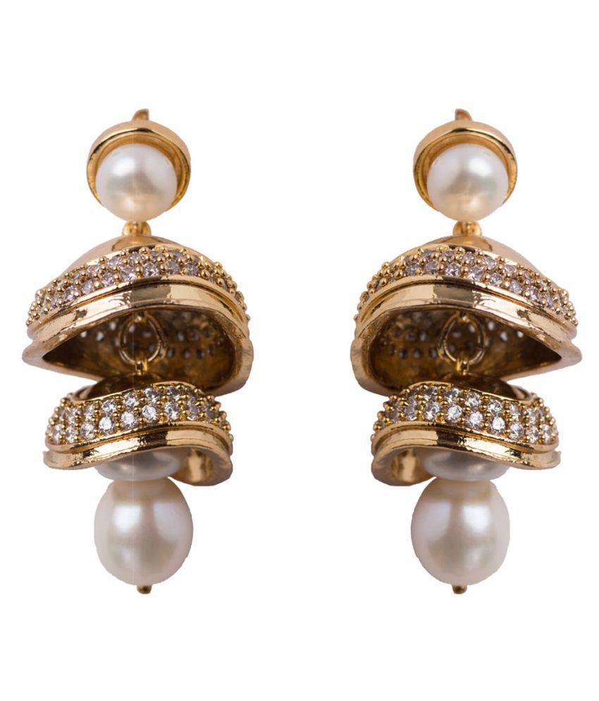 ea6063f74808e Chandrani Pearls Golden Jhumka Earrings - Buy Chandrani Pearls ...