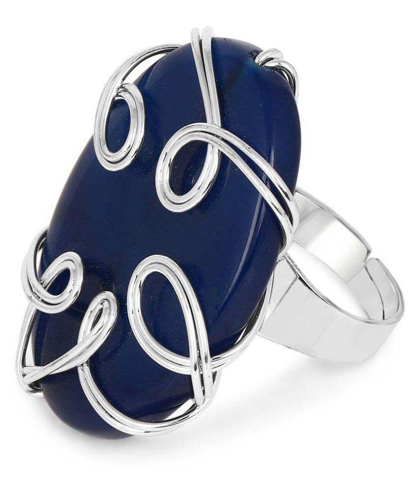 Johareez Chrome Plated Designer Blue Stone Studded Ring for Women