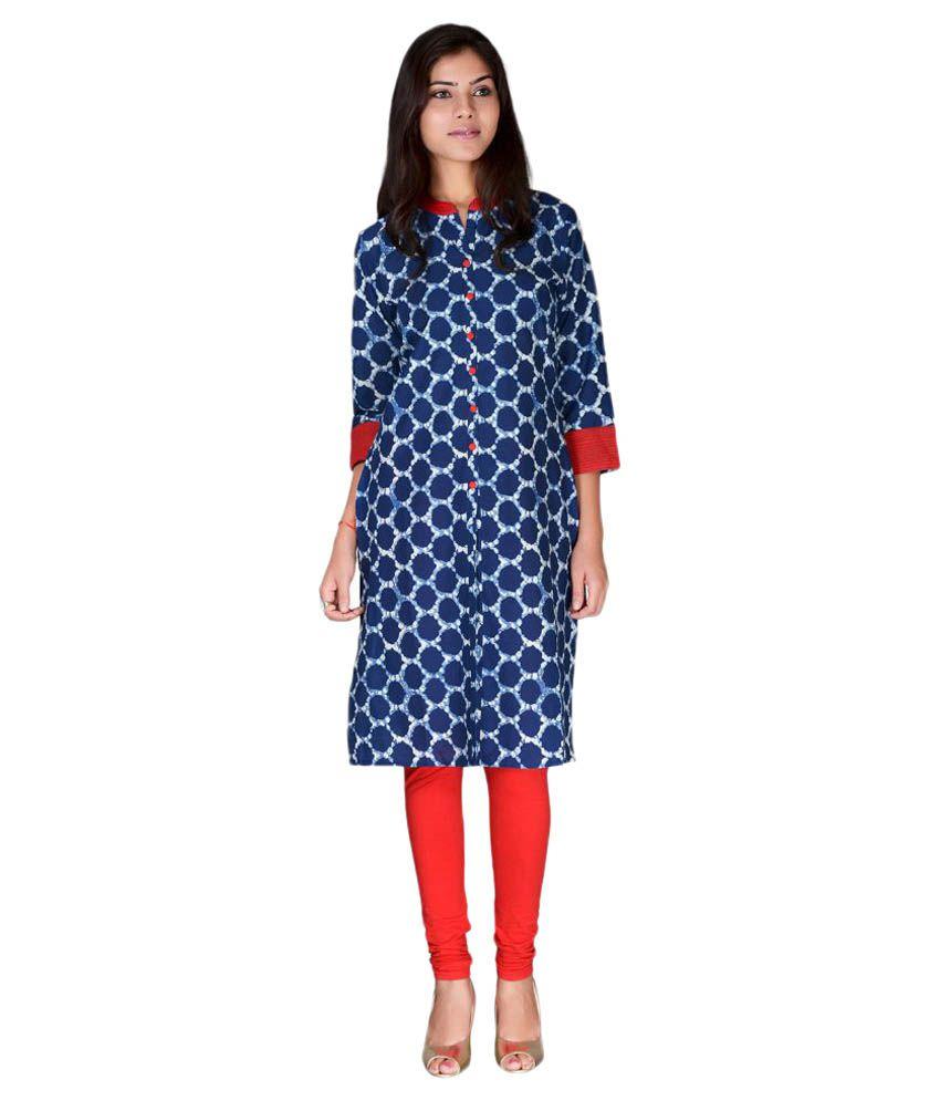 Madhuvan Blue Cotton Straight Kurti