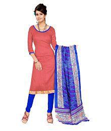 Designer Salwar Suits Red Art Silk Dress Material