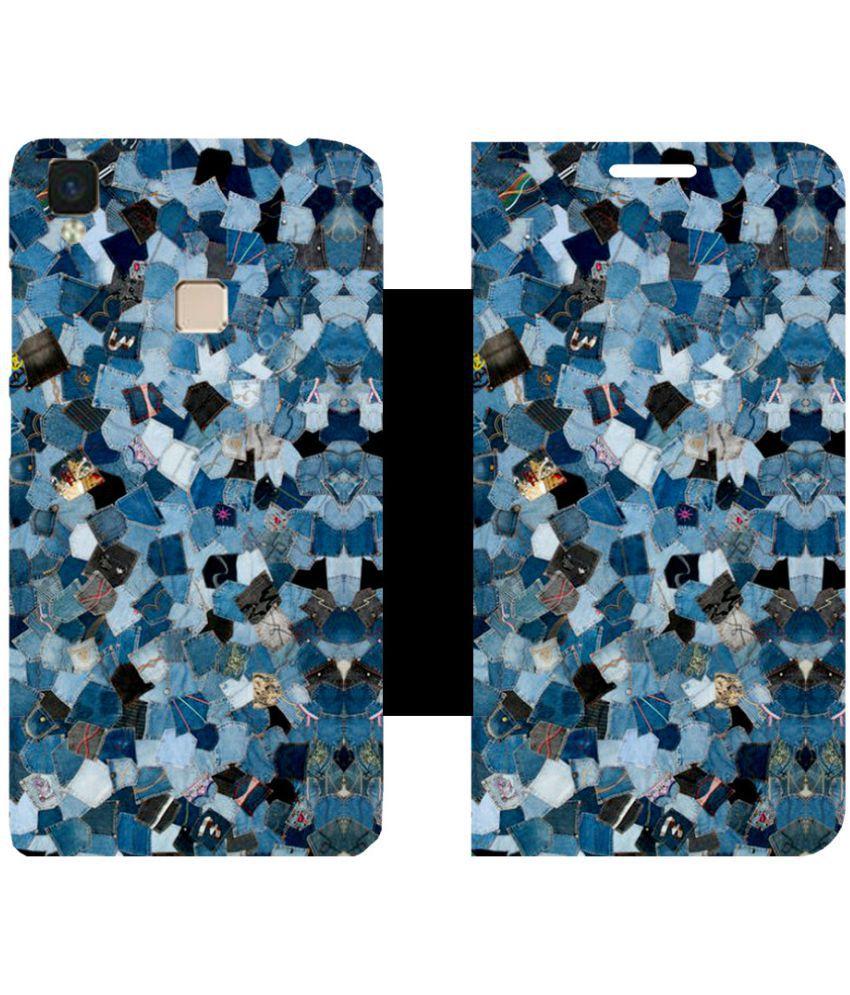 Vivo V3 MAX Flip Cover by Skintice - blue