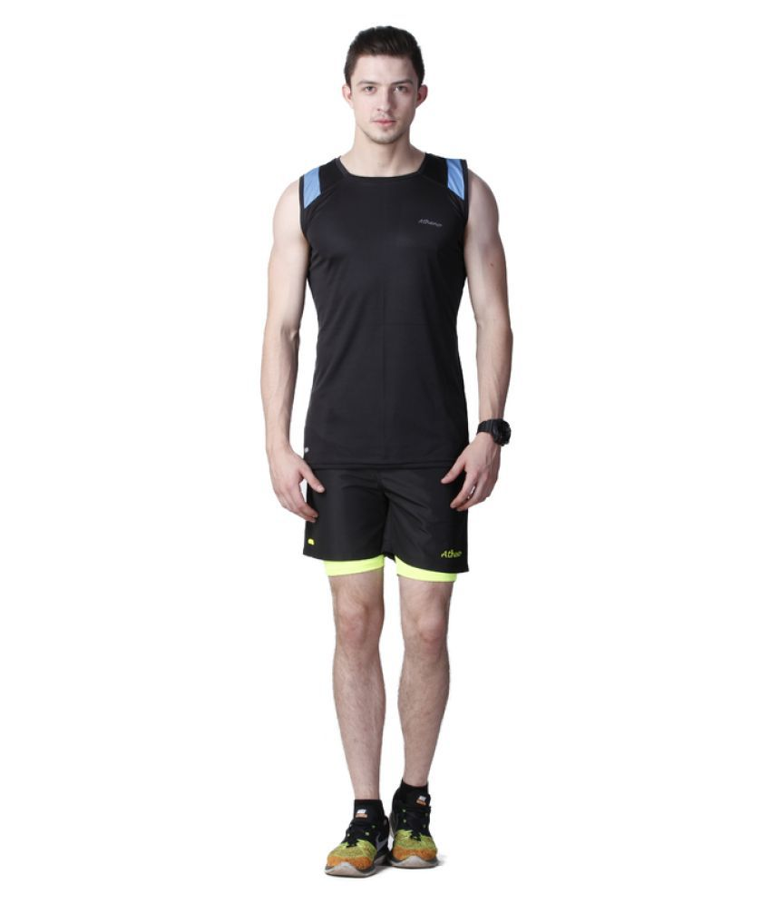 Atheno Black Mens Sports Gym Tight Fitted Lycra Shorts