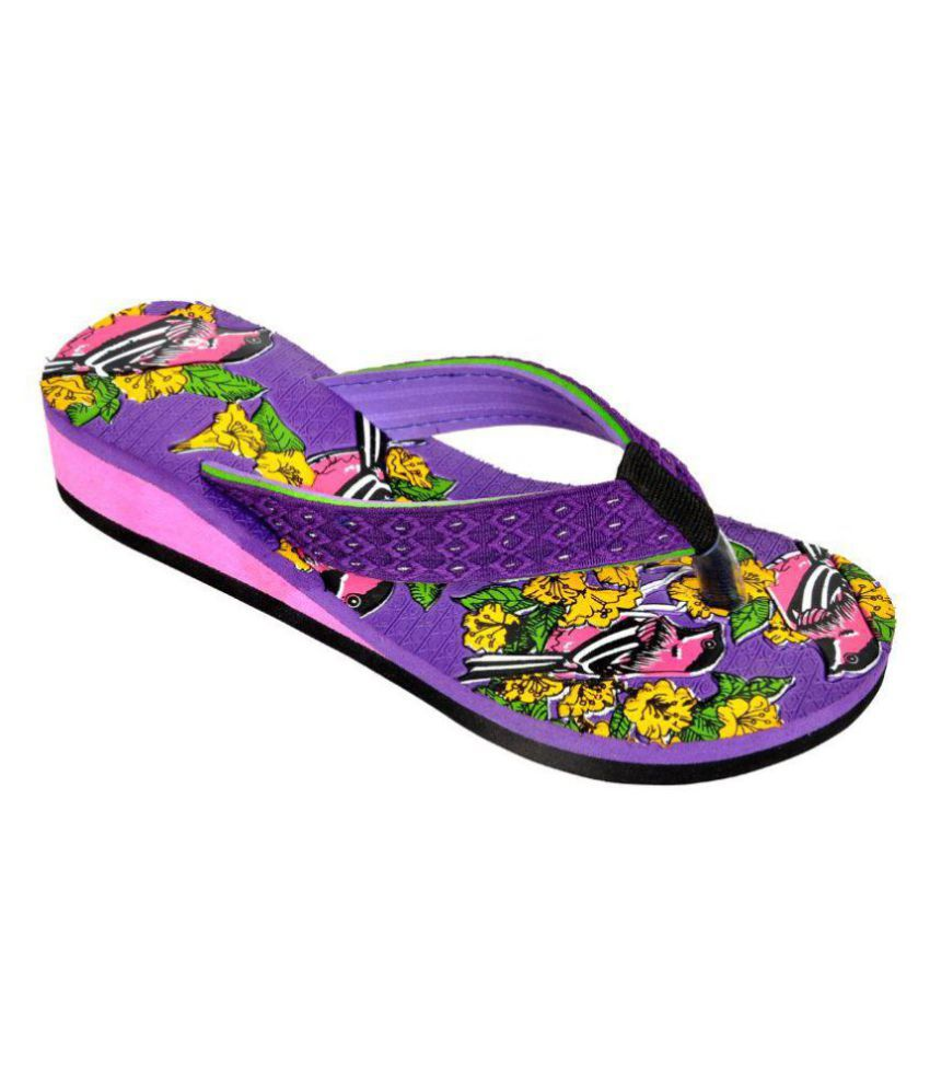 Leather Line Tack Purple Slippers