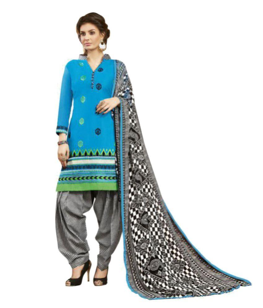 Women Latest Fancy Designer Salwar Suit Blue Cotton Dress Material