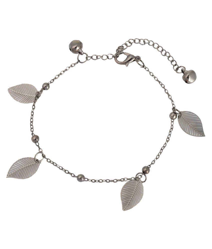 Aaishwarya Silver Metal Leaf Drop Anklet