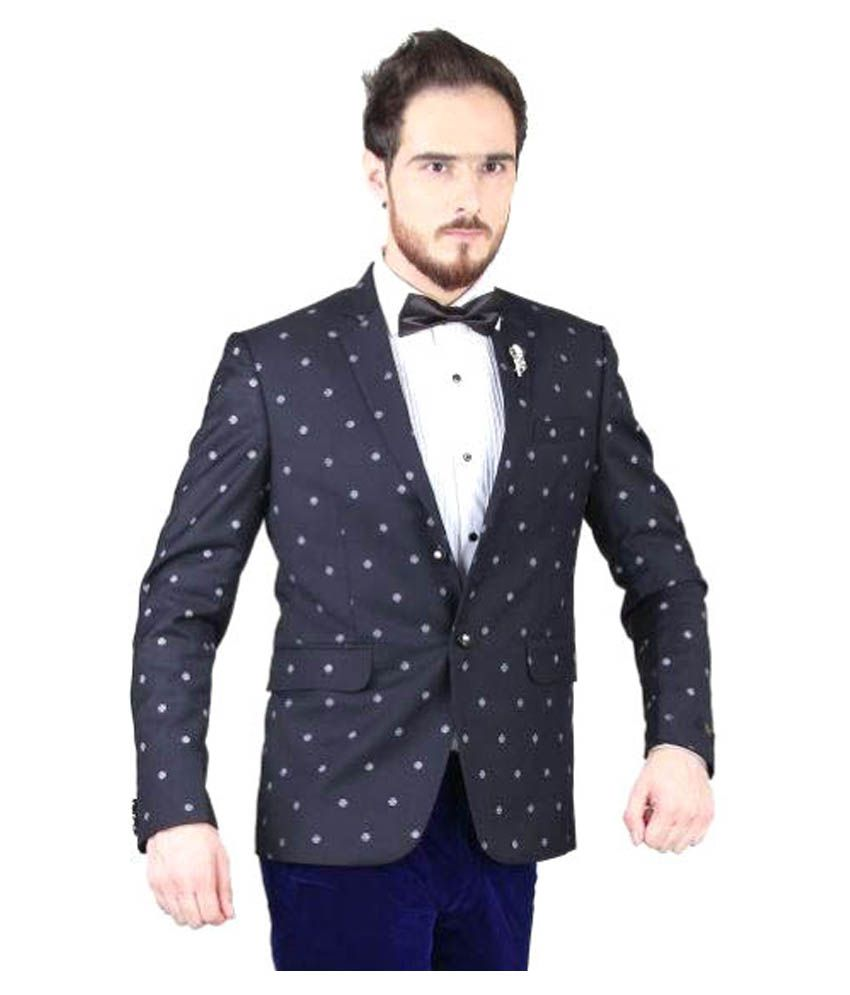 Blackthread Black Printed Wedding Blazers