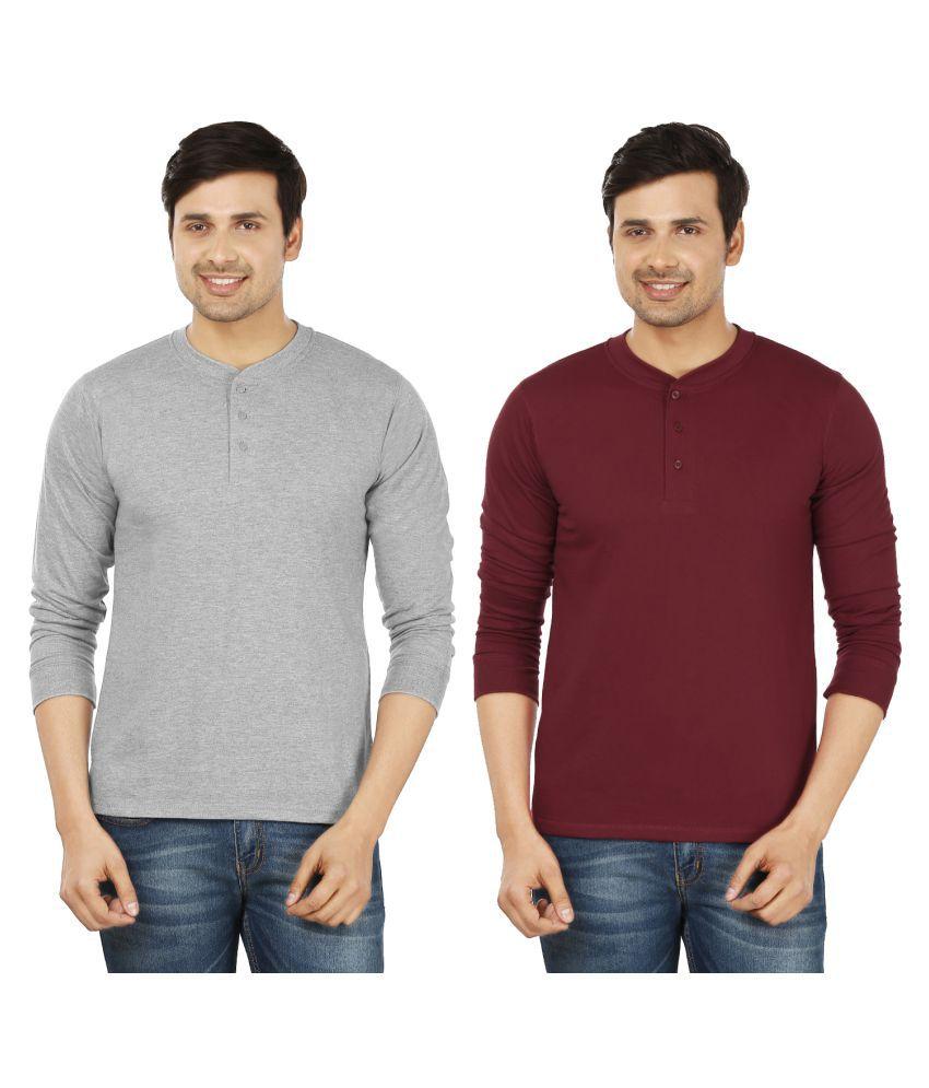 Weardo Multi Henley T-Shirt Pack of 2