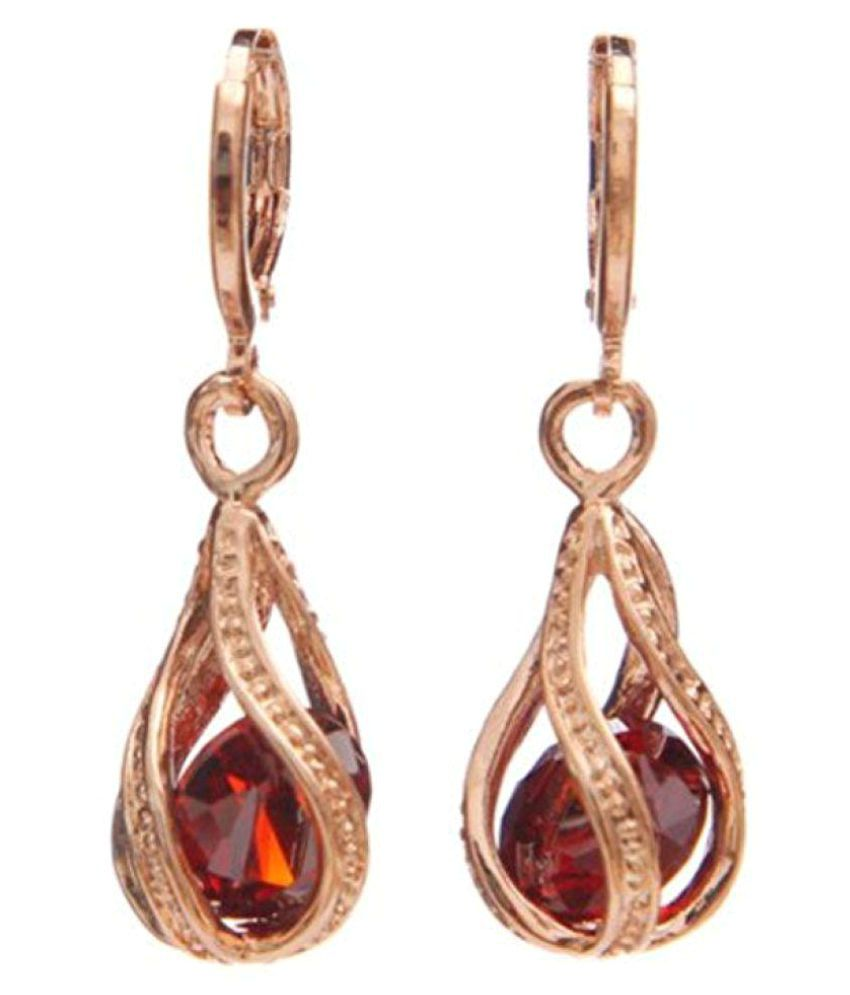 Shining Diva Fashion Golden Drop Earrings