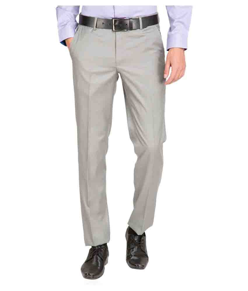 Black Coffee Grey Regular Flat Trouser