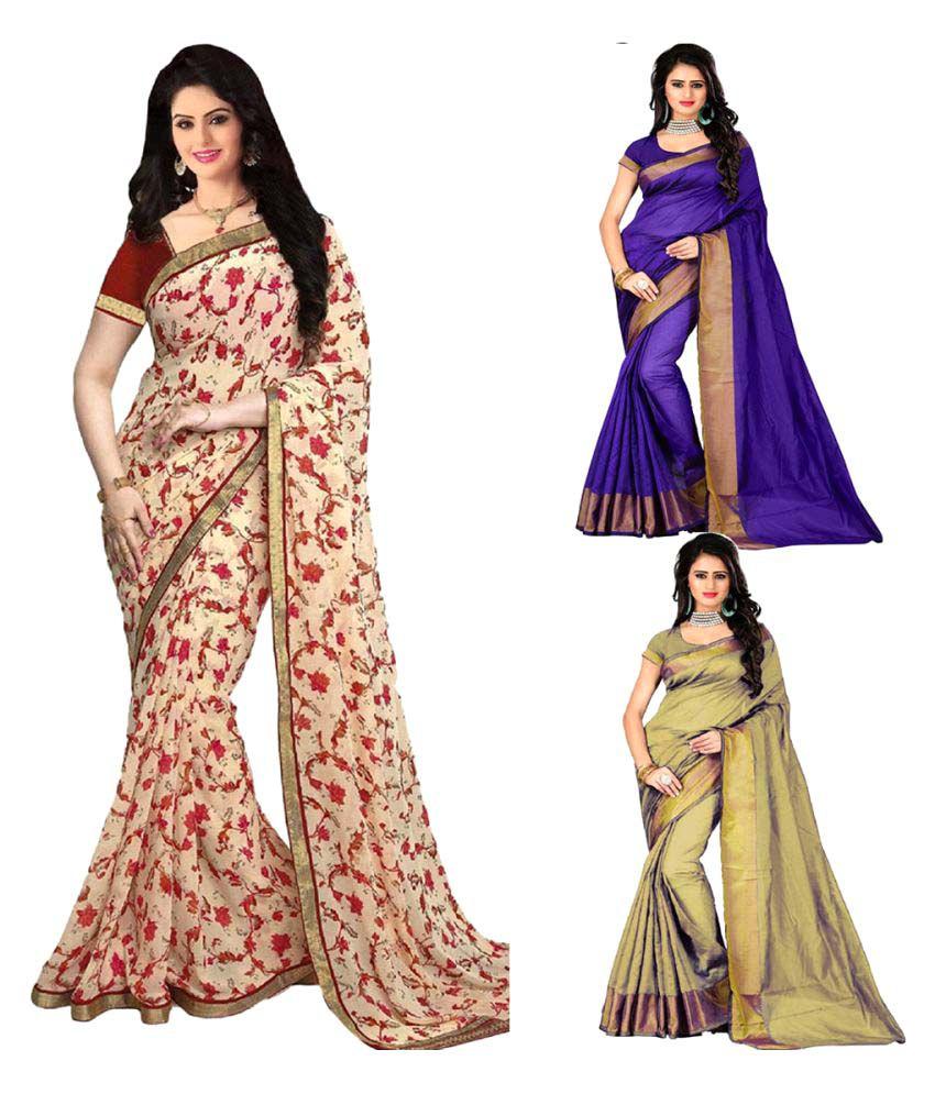 Pramukh Suppliers Multicoloured Bhagalpuri Cotton Saree Combos