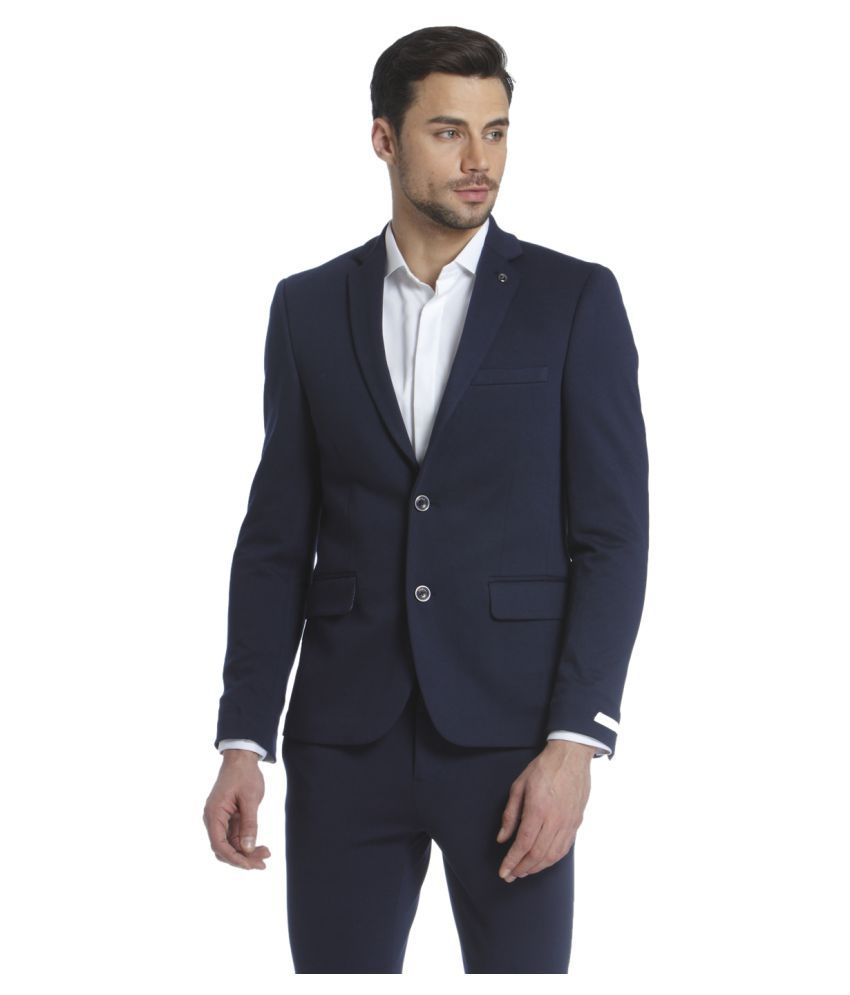 Jack & Jones Navy Solid Casual Blazers