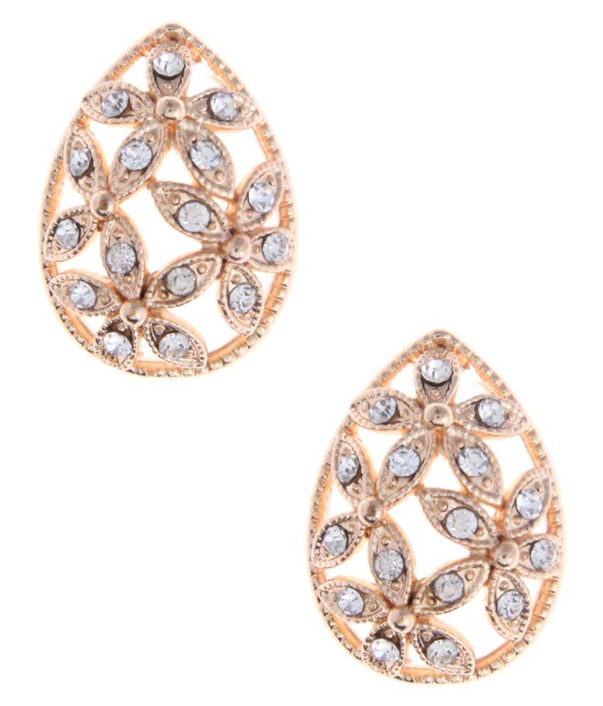 Jewelizer Golden Alloy Stud Earrings