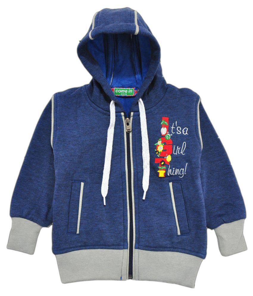 Come In Kids Blue Fleece Girl's Printed Sweatshirt