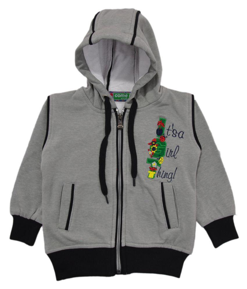 Come In Kids Grey Fleece Girl's Printed Sweatshirt