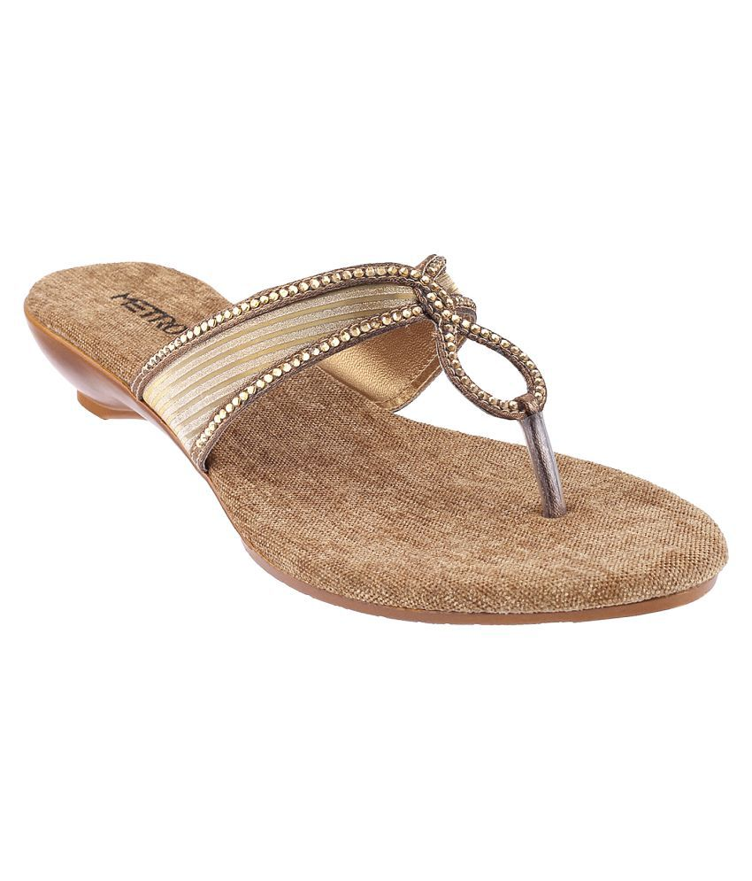 METRO Gold Wedges Flats