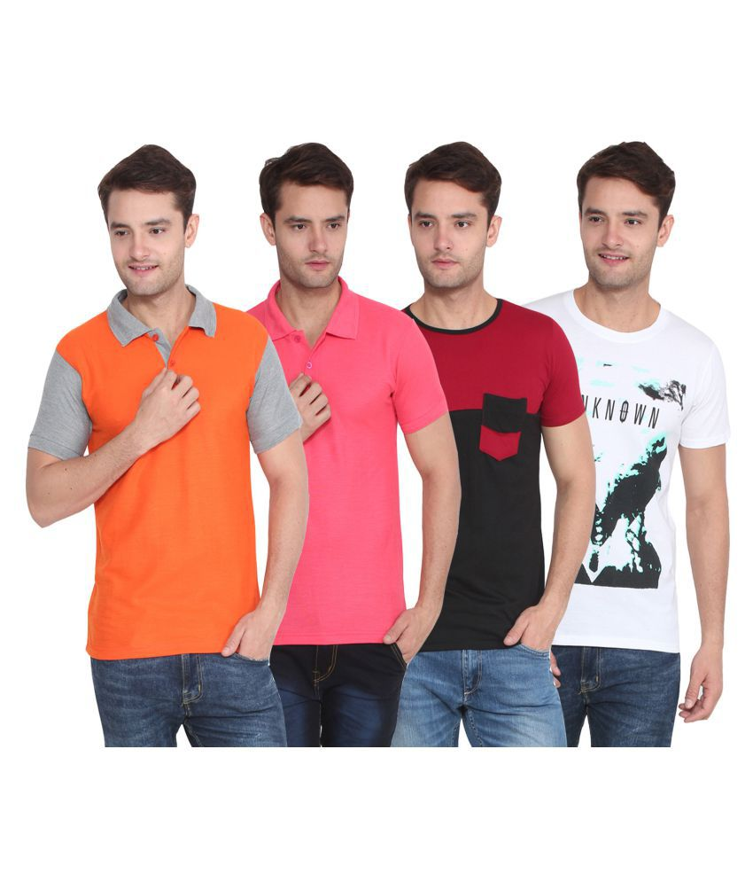 Attree Multi Round T-Shirt Pack Of 4