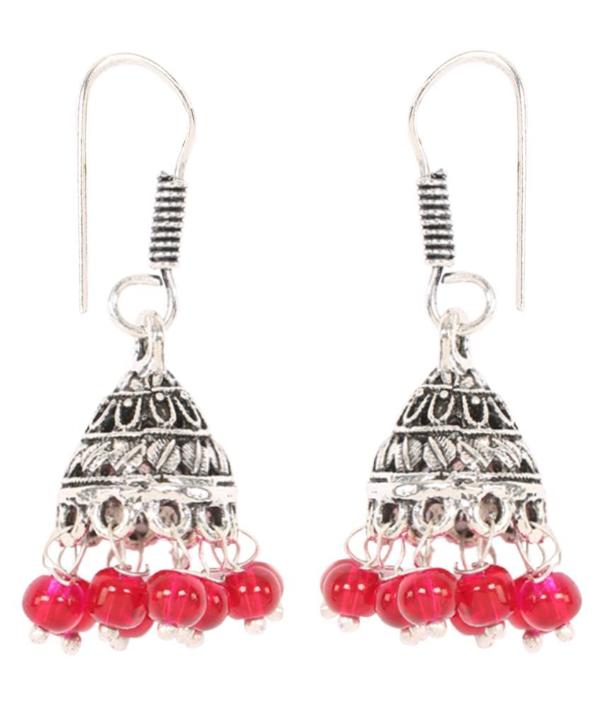 Panash Multicolour German Silver Jhumkis