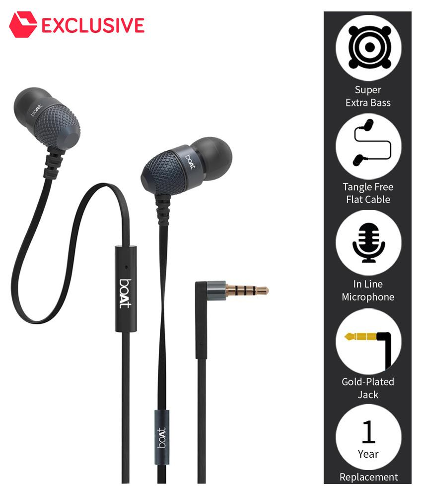 boAt BassHeads 200 Extra Bass In Ear Wired Earphones With Mic Black-61% OFF