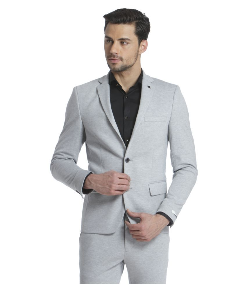 Jack & Jones Grey Solid Formal Blazers Single