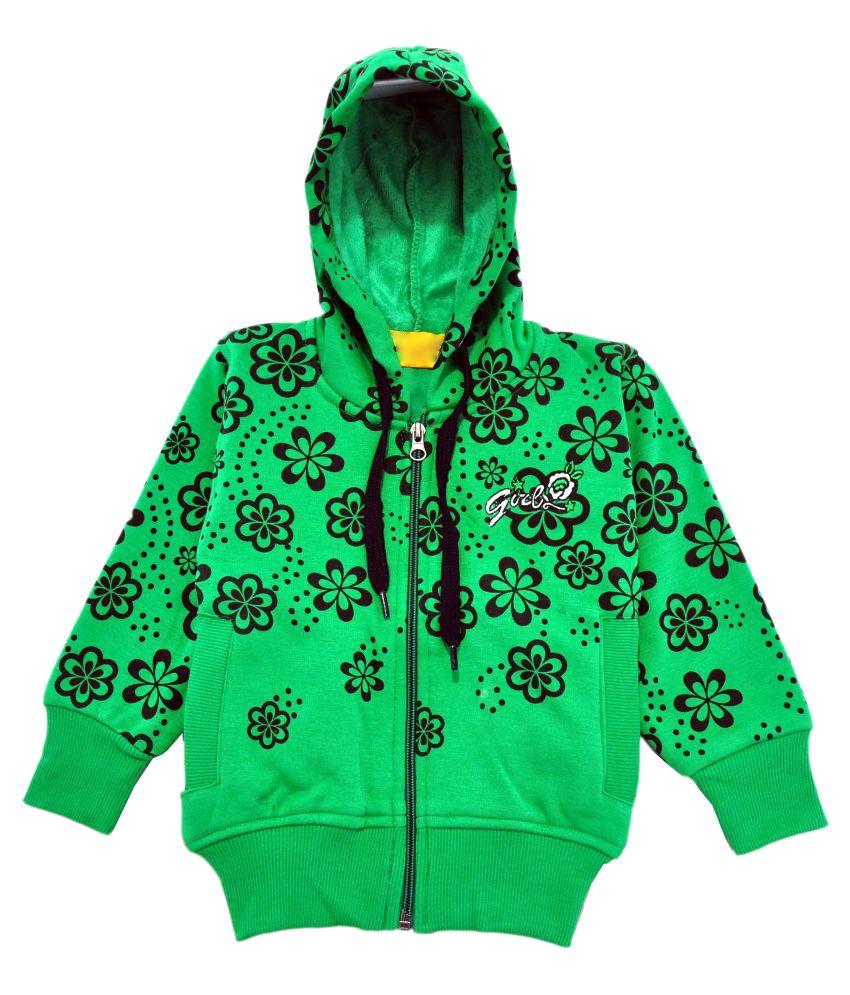 Come In Kids Green Fleece Girl's Printed Sweatshirt