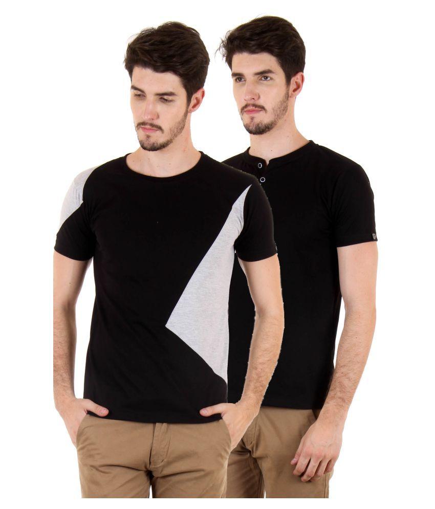 FIO Black Round T-Shirt Pack of 2