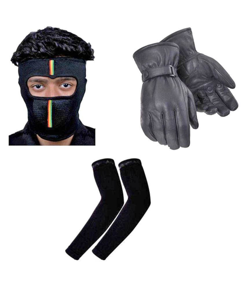 Buy leather hand gloves online india - Bestellan Black Leather Woolen Hand Gloves With Full Face Mask And Arm Sleeve