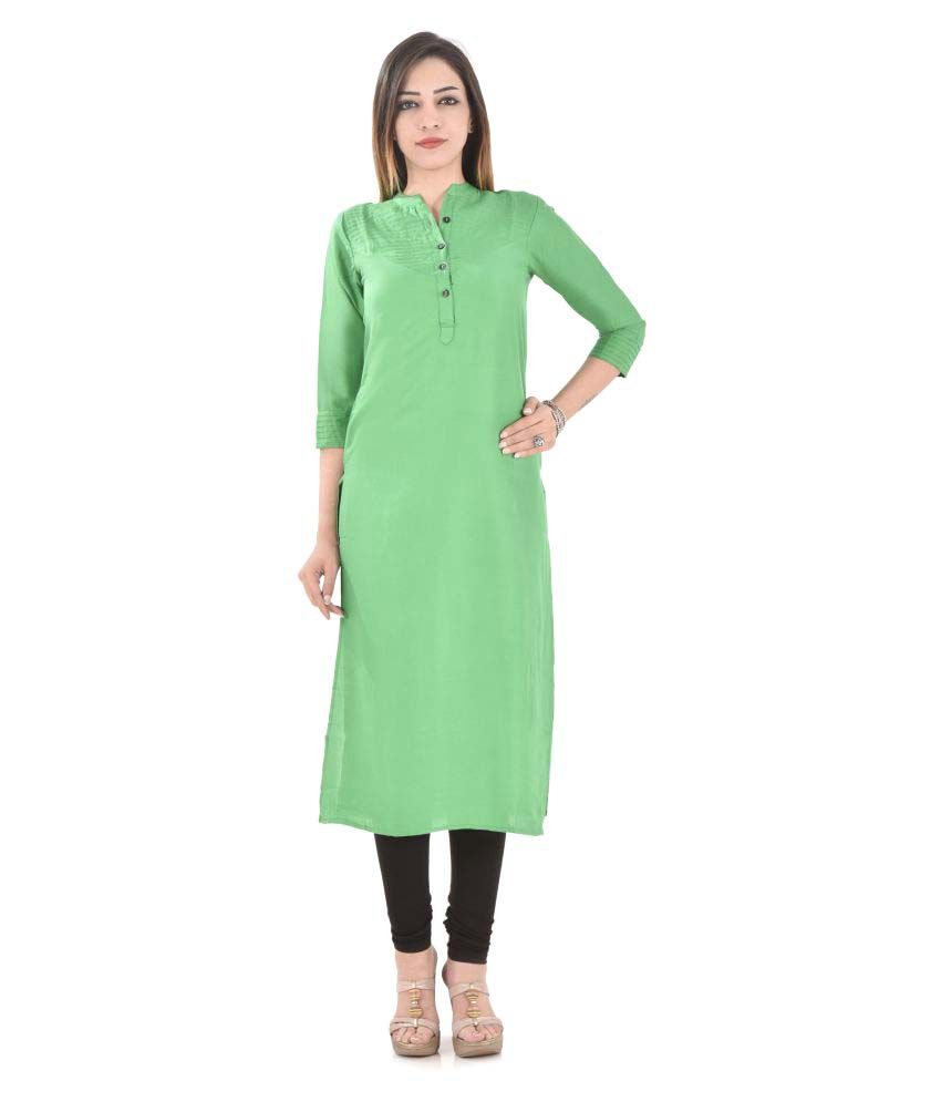 Colour Cluster Green Rayon Straight Kurti