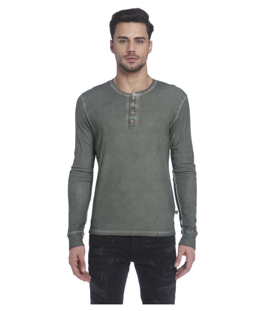 Jack & Jones Green Henley T-Shirt