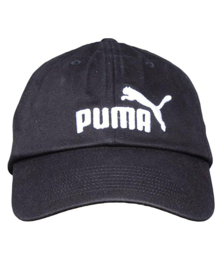 Puma Black Embroidered Cotton Caps