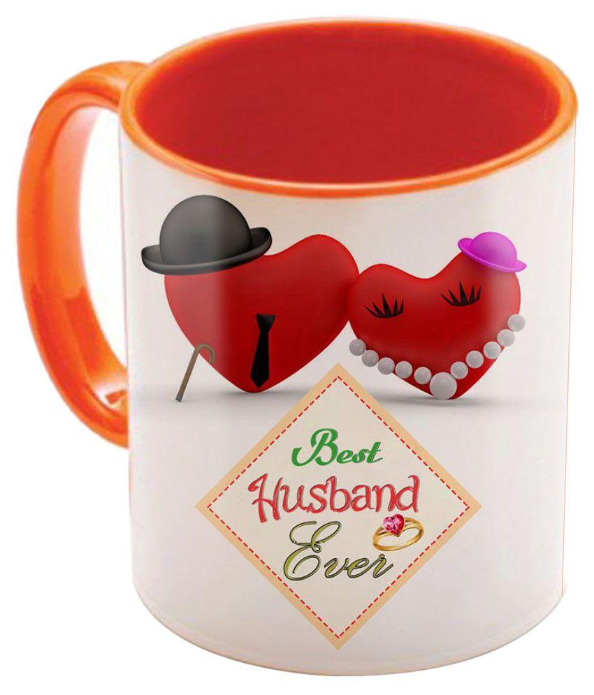 Sky Trends Valentine Gift Set Printed Orange Coffee Mug Best Gift