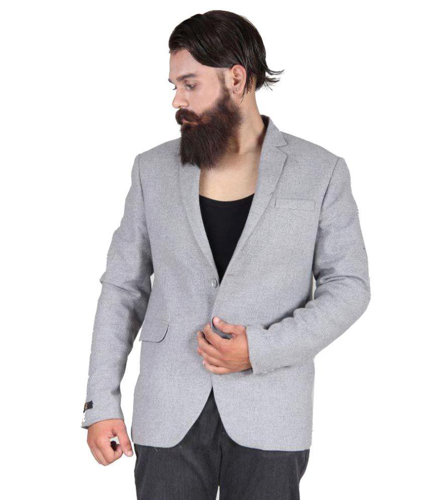 Blackthread Grey Solid Casual Blazers