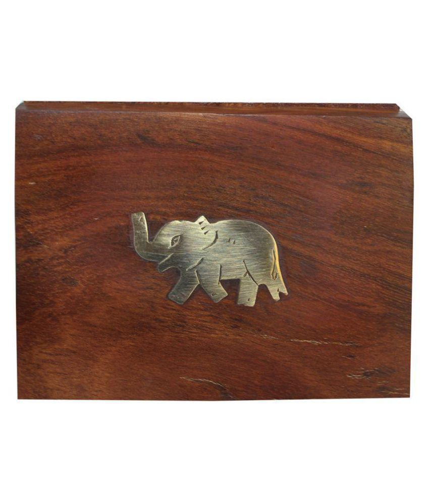 Craftgasmic Rectangle Wood Jewelry Box Elephant Design